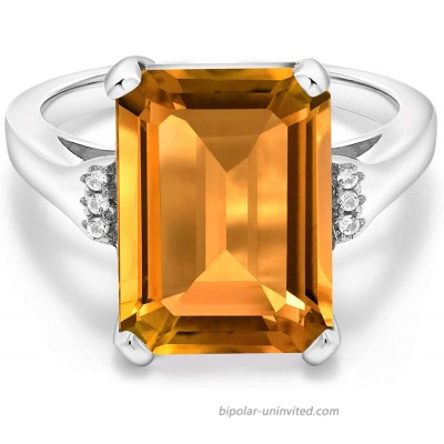 Gem Stone King 925 Sterling Silver Yellow Citrine Women Engagement Ring 8.27 Cttw Emerald Cut 14X10MM Gemstone Birthstone Available in size 5 6 7 8 9 |