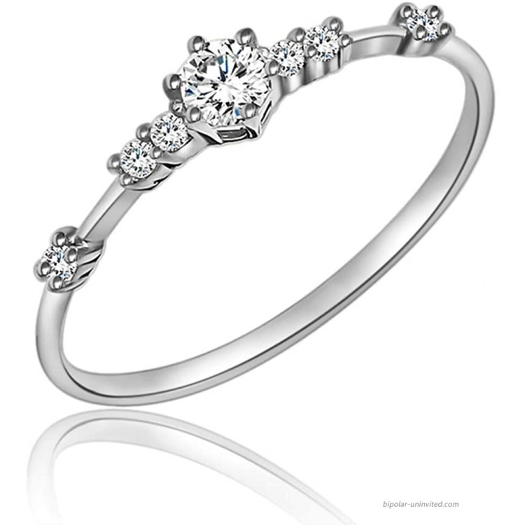 JESMING 7 Tiny Diamond Pieces of Exquisite Ring Stacking Rings for Women Small Fresh Style Ladies Engagement Ring Jewelry   Gold Silver Rings for Women