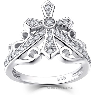 JO WISDOM 925 Sterling Silver Cubic Zirconia Cross Crown Women Ring with White Gold Plated Size 8