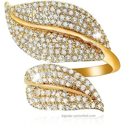 MOROTOLE 18K Gold Silver Plated Adjustable Open Rings Cubic Zirconia Wedding Band Stackable Eternity Couple Ring