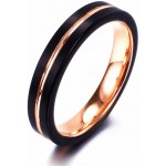 NaNa Chic Jewelry 4mm Black Rose Gold Plated Tungsten Carbide Ring for Women
