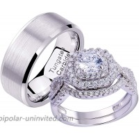Newshe Wedding Ring Sets for Him and Her 925 Sterling Silver Women Mens Tungsten Bands 2Ct Cz Size 10&8