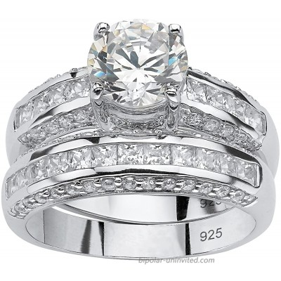 Platinum over Sterling Silver Round Cubic Zirconia Bridal Ring Set