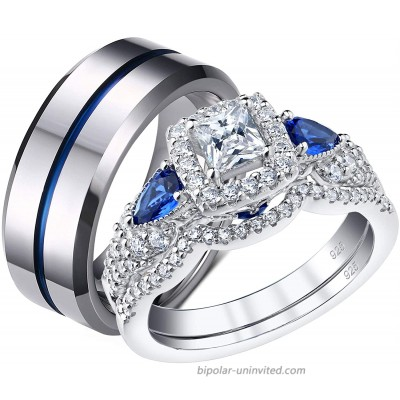 SHELOVES Wedding Rings Set for Couple Womens Cz Sterling Silver Mens Blue Tungsten Bands Him and Her 7+11