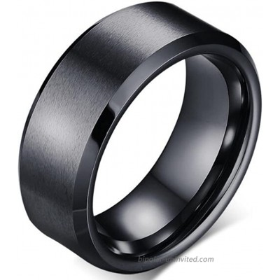 Stainless Steel Matte Brushed Classic Simple Plain Wedding Band Ring