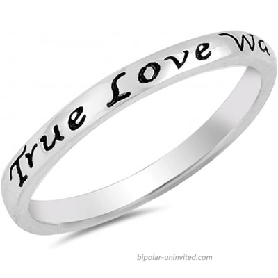 True Love Waits Heart Script Ring .925 Sterling Silver Promise Band Sizes 3-10