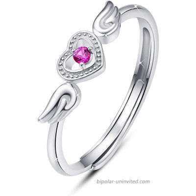 TUGHRA Angels Wing Ring 925 Sterling Silver Cubic Zirconia Heart Promise Ring Adjustable Open Ring Jewelry for Women