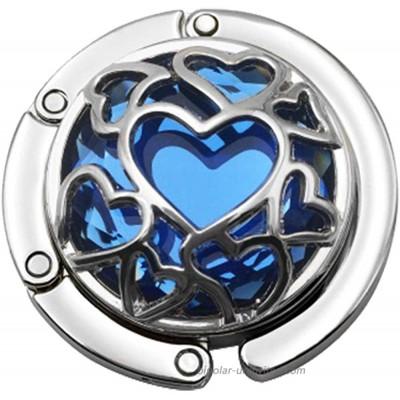 Beacone Heart Shape Style Foldable Handbag Hanger Hook Bag Purse Hanger Holder Blue