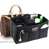 Felt Fabric Handbag Organizer Insert Purse Organizer 12 Pockets Structure Shaper 4 size Black Small at  Women's Clothing store
