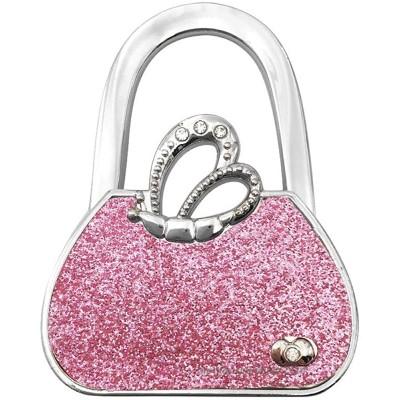 JISEN Portable Handbag Hanger Table Purse Instant Swivel Top Hook for Table Bar Type1-Pink