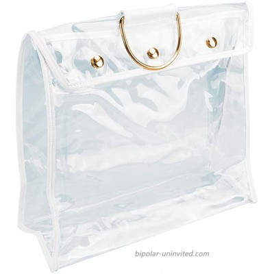 JURONG Clear Bags for Work Handbag Dust Storage Bag Transparent Dust-Proof Bag Clear Purse Organizer Handbag Holder with 3 Magnetic Snap and Metal Hanging Ring-16.5X5.9X14.9inches