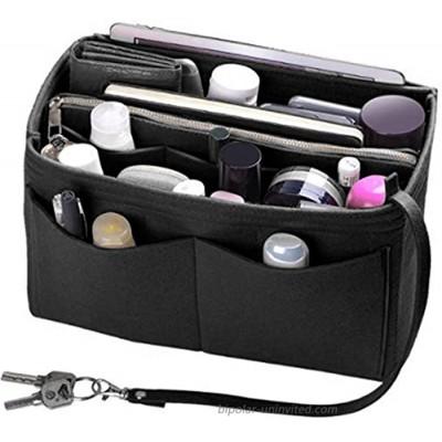 Purse Insert Bag Felt Organizer Bag in Bag Insert Storage Bag with Keychain for Handbag & Tote Bag for Women Black
