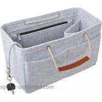 Vercord Felt Handbag Insert Purse Organizers Bag Tote with Handle for Neverfull Speedy Women Light Grey Medium