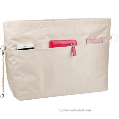 Vercord Handbag Purse Bag Insert Organizers Extra Thick Large Travel Handbag Organizer Beige