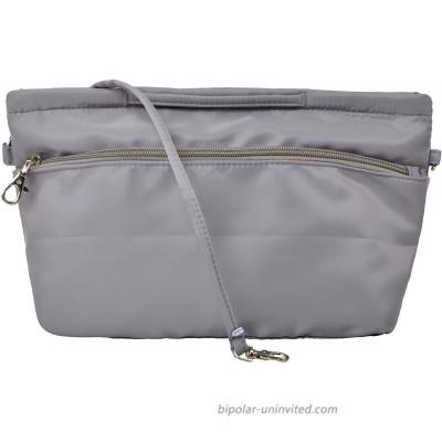 Vercord Soft Nylon Purse Organizer Handbag Tote Insert Organizers Zipper Closure with Keychain and Handle 10 Pockets Grey