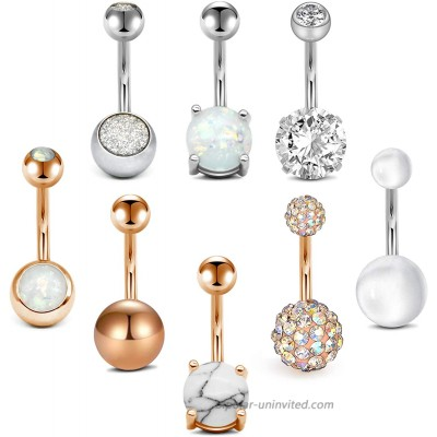 Anicina 14G Belly Button Rings Surgical Stainless Steel Belly Rings 10mm Belly Bar Piercing Navel Piercing Jewelry 8pcs