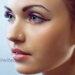 COCHARM 14k Gold Nose Ring Stud 20 Gauge L Shaped Moon Nose Piercing Jewelry For Women Men 1Pcs