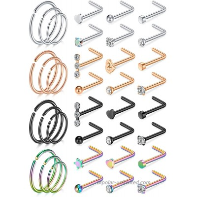D.Bella 20G Nose Rings for Women Nose Piercings Jewelry Hypoallergenic Nose Rings Hoops L Shaped Nose Studs 8mm 10mm 12mm Hoop Nose Piercing Jewelry