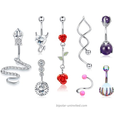 Drperfect 14G Belly Button Rings for Women Belly Rings Navel Rings 316L Surgical Steel Belly Navel Piercing Jewelry