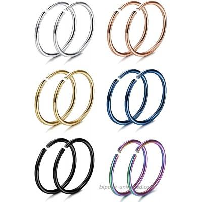 FIBO STEEL 18G 5PCS Stainless Steel Body Jewelry Piercing Nose Ring Hoop Nose Piercing