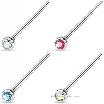 Forbidden Body Jewelry 20g 4-Pack Surgical Steel 2mm Press Fit CZ Fishtail Custom Bend Nose Studs