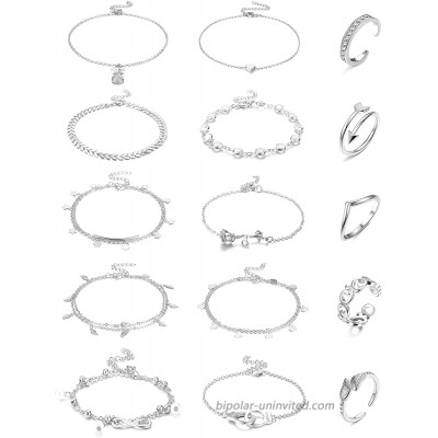 Hanpabum 15 Pcs Anklets and Toe Ring Set for Women Teen Girls Layered Ankle Bracelets Open Toe Rings Foot Jewelry Silver Gold Rosegold