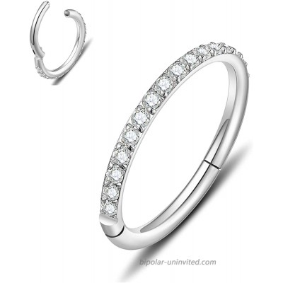 Hinged Nose Ring Hoop 316L Surgical Steel Septum Jewelry with Clear Gems or Opal Aesthetic Hypoallergenic Non-Tarnish Piercing Available in 18G 16G 6mm - 8mm - 10mm Silver - Gold - Rose Gold