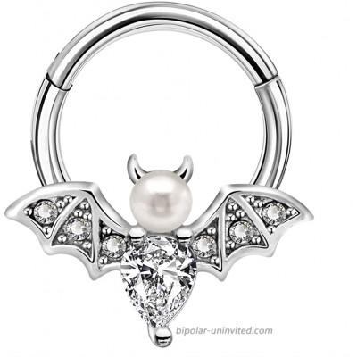 Jewseen Clear Gem Vampire Bat Halloween Hinged Segment Ring Tear CZ Daith Earring Helix Tragus Cartilage Piercing Jewelry