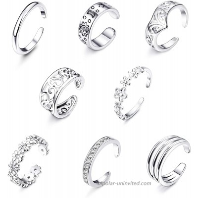 Jstyle 8Pcs Adjustable Toe Rings for Women Girls Various Types Band Open Toe Ring Set Women Gift Jewelry