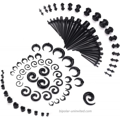 Magitaco 84 PCS Ear Stretching Kit Ear Gauges Expander Set Acrylic Tapers and Plugs Silicone Tunnels Horseshoes Taper Spiral Tapers Gauges for Ears Black