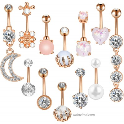 ONESING 12 Pcs 14G Belly Button Rings Gold Belly Rings for Women Belly Piercing Jewelry Belly Barbells Opal Pearl Moon Navel Rings Stainless Steel Body Piercing Jewelry