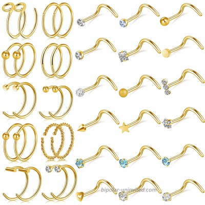 ONESING 38 Pcs 20G Gold Nose Rings for Women Nose Rings Hoop Nose Piercing Jewelry Nose Studs Screw for Women Men Stainless Steel