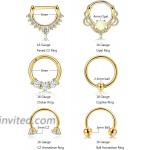 ORAZIO 6PCS 16G 316L Stainless Steel Septum Hoop Nose Ring Horseshoe Rings Cartilage Clicker Piercing Jewelry Gold-Tone