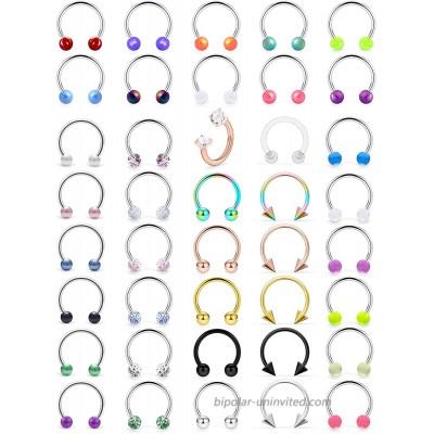 Prjndjw 16G Surgical Steel Nose Septum Rings Piercing Jewelry Horseshoe Septum Jewelry Cartilage Helix Tragus Earring Hoop Eyebrow Lip Hoop Retainer for Women Men Body Piercing Rings 8mm 10mm CZ Glow