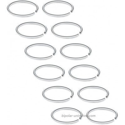 SCERRING 12PCS 22G Stainless Steel Fake Nose Septum Hoop Rings Lip Helix Cartilage Tragus Ear Ring Piercing 6mm - Silver