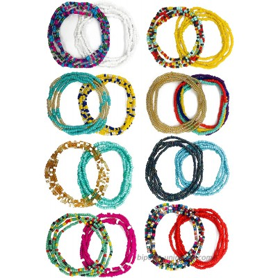 Tornito 16Pcs Belly Waist Chain Summer Jewelry Bikini Body Chain for Women African Waist Bead Set Stretchy Elastic String Multi-Color Sexy Necklace Bracelet Anklet