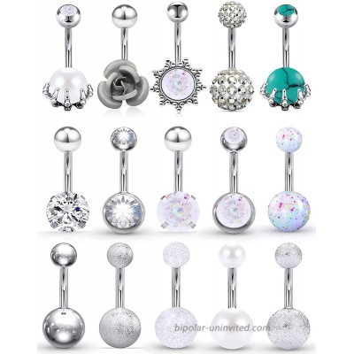Vsnnsns 14G Belly Button Rings Belly Rings for Women Stainless Steel CZ Opal Belly Button Piercing Jewelry Belly Bars Curved Navel Ring Barbell Body Jewelry Piercing for Women Men Silver