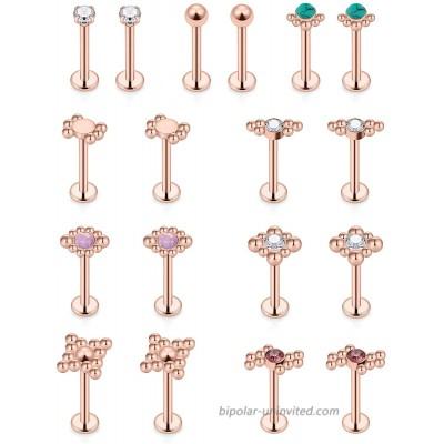 Vsnnsns 16G Cartilage Earrings Tragus Earrings for Women Rose Gold Stainless Steel Forward Helix Earrings Stud Nose Lip Rings Labret Monroe Medusa Barbells Studs Body Piercing Jewelry for Women Men