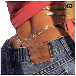 Women Sexy Rhinestone Waist Body Chain Crytal Sexy Girl Letter Pendant Belly Waist Chain T-String Thong Body Jewelry Sexy Girl Letter