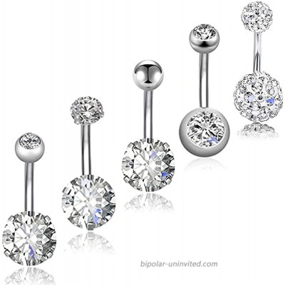 Yeelong 12mm Belly Button Rings Surgical Steel Belly Rings Diamond Belly Piercing Navel Rings for Women
