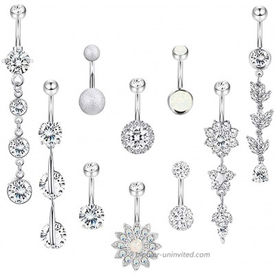 YOVORO 10PCS 14G 316L Stainless Steel Dangle Belly Button Rings for Women Navel Rings Curved Barbell Body Piercing Silver-tone