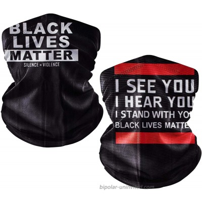 2 Pack Bandana Face Mask with Ear Loops Balaclava Neck Gaiters Women Men for Dust Wind I Can't Breath Black Lives Matter