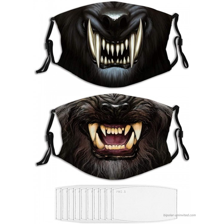 2PCS Face Mask Angry Werewolf Face in Darkness Washable Masks for Adult at Men's Clothing store
