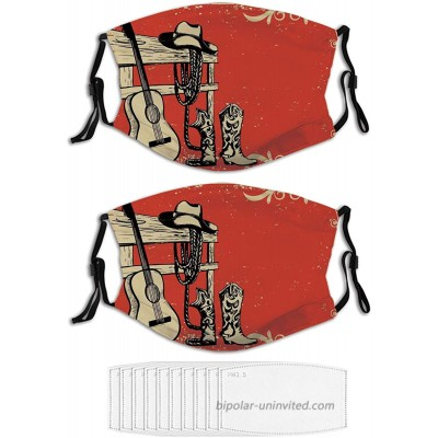 2PCS Face Mask Western Image of Wild West Elements with Masks for Men & Women at  Men's Clothing store