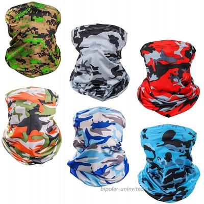 6pcs Adult Camo Neck Gaiter Face Mask Breathable Bandana Balaclava Outdoor Sun UV Protection at  Men's Clothing store