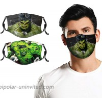 Adult Kid Hulk Face Cover Washable Reusable Face Mask Replaceable Filter Activated Carbon Guard for Mens Womens 2pcs at  Men's Clothing store