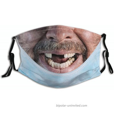 Funny Teeth Man Prank Realistic Face Mask Scarf With 2 Filters Washable Balaclava Adjustable Nose Bridge Cloth Pocket Reusable Bandanas For Adult at  Men's Clothing store