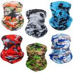 Neck Gaiter Face Mask Bandana Sun Protection for Men Women 6 pcs Camouflage at Men's Clothing store