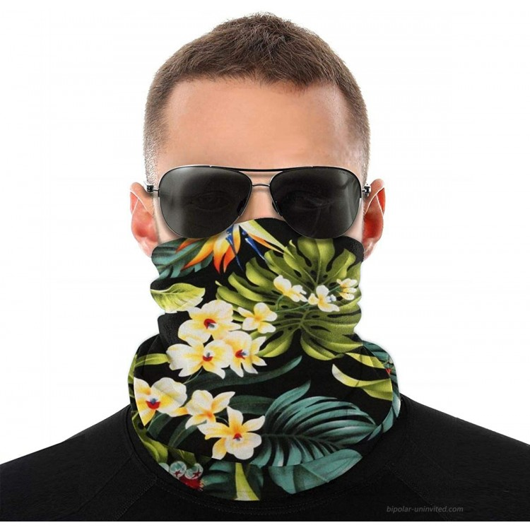 QSMX Bandanas Neck Gaiter Face Covering for Women Men Outdoors Sport UV Protection Hawaiian Floral Pattern One Size at Women's Clothing store