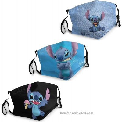 Stitch Face Mask Washable 3PC with 6 Filters Mouth Cover with Adjustable Mask Elastic Strap Made in USA Blue at  Men's Clothing store